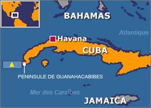 La constellation d'orion est la constante de l'orientation des pyramides du monde Cuba_map