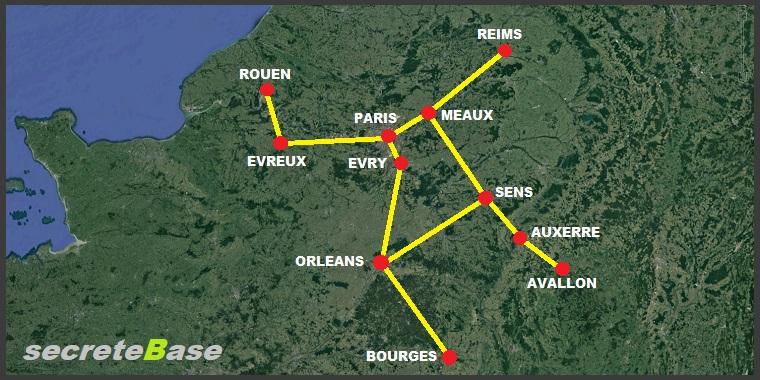 carte lignes telluriques france Lignes Templieres   Axe majeur de la France