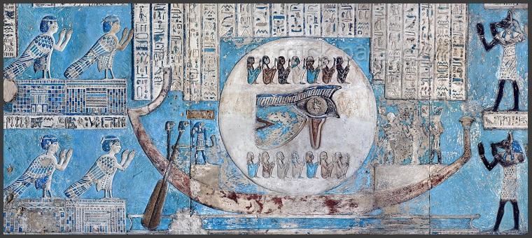 b1a9f46576ecec L œil guéri d Horus ou la lune décroissante sur les murs de la salle  hypostyle à Dendérah (Ier siècle de notre ère). Dans cette représentation  de l œil les ...